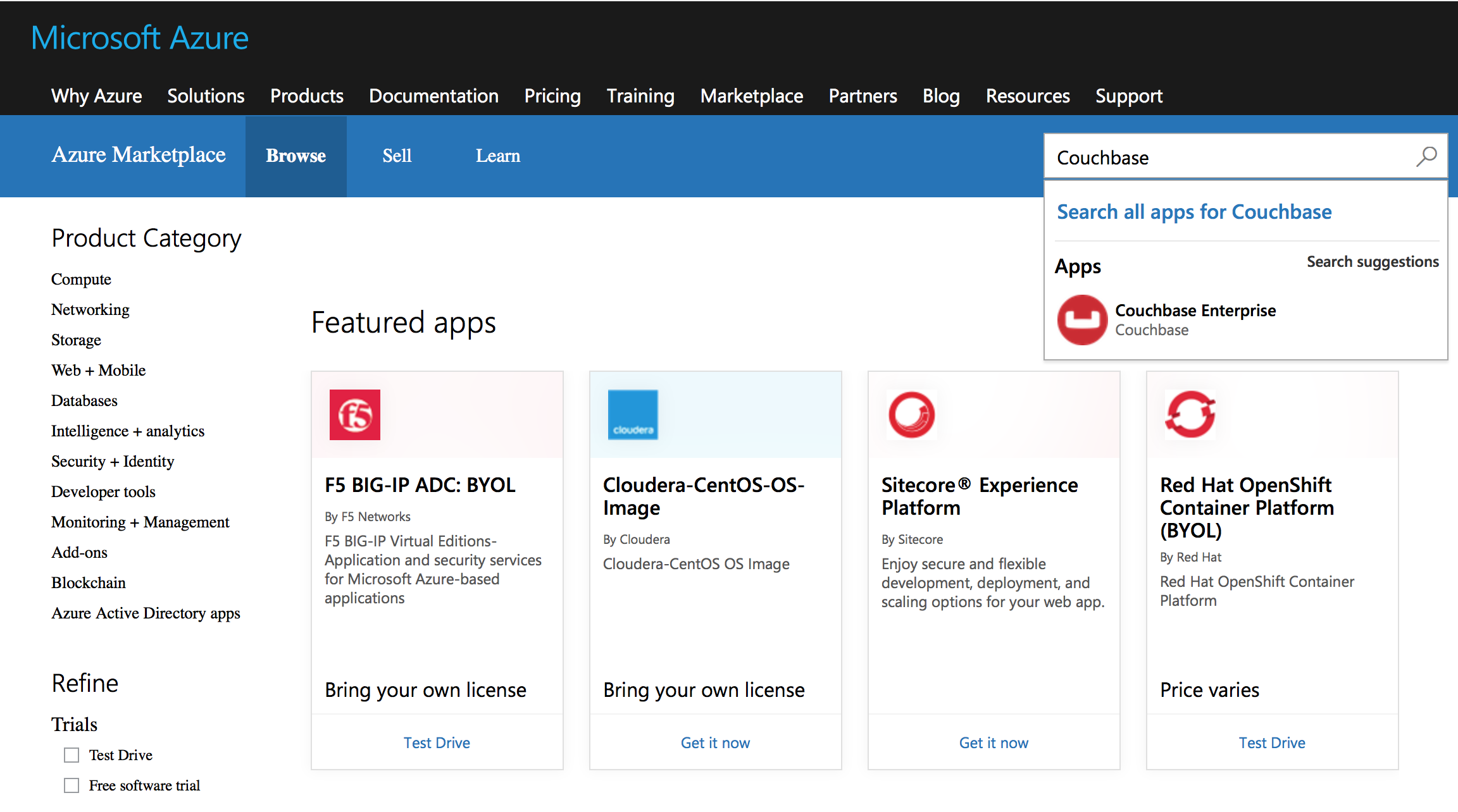 Deploying Couchbase from Azure Marketplace | Couchbase Docs
