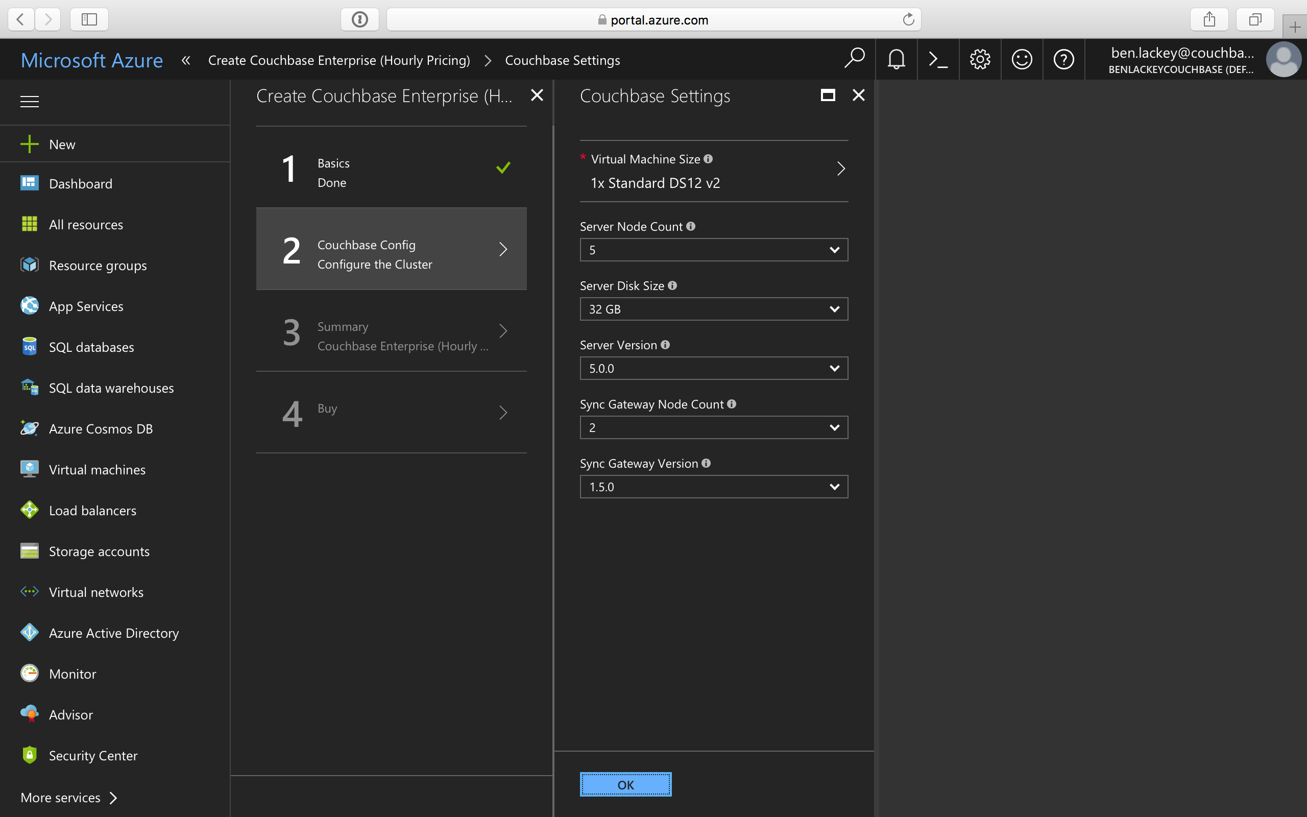 Deploying Couchbase from Azure Marketplace | Couchbase Docs
